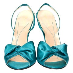 New Kate Spade Her 2005 Collection Teal Satin Heels Sz 6