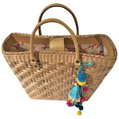 New Kate Spade Her Rare Spring 2005 Large Wicker Tote Bag Gold Leather