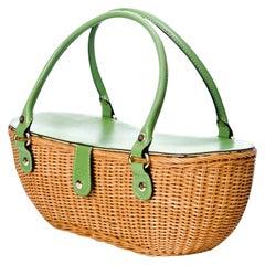 New Kate Spade Her Rare Spring 2005 Medium Green Wicker Basket Bag