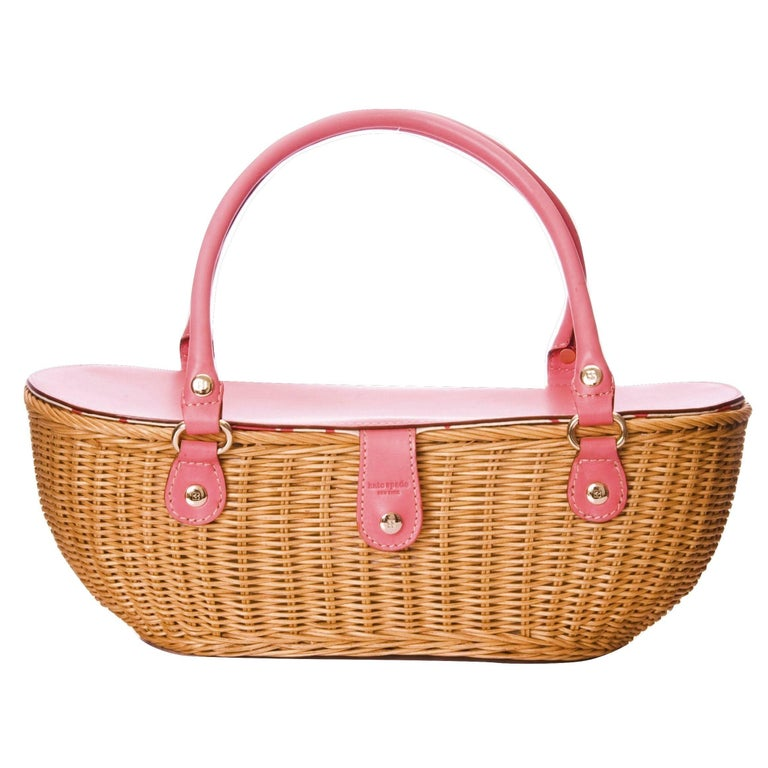New Kate Spade Pink Wicker Basket Bag