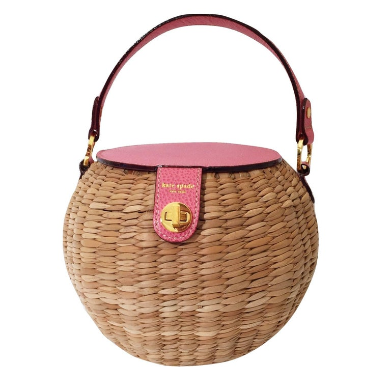New Spring 2005 Collection Kate Spade Pink Wicker Basket Bag With Box Tags For