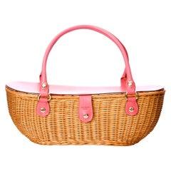 New Kate Spade Rare Collectible Spring 2005 Large Pink Wicker Basket Bag