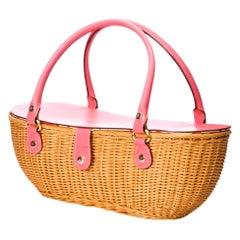 New Kate Spade Rare Collectible Spring 2005 Medium Pink Wicker Basket Bag