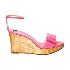 New Kate Spade Rare Collectible Spring 2005 Wicker Pink Wedge Heels Sz 10