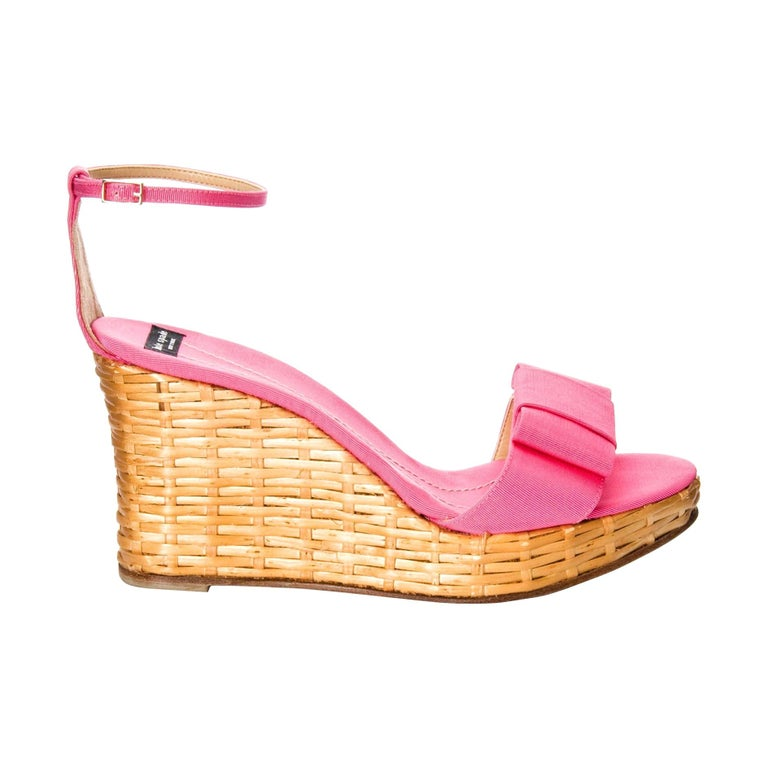 New Kate Spade Rare Collectible Spring 2005 Wicker Pink Wedge Heels Sz 10 For Sale