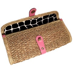 New Kate Spade Rare Collectible Spring 2005 Wicker Straw Rattan Clutch Bag