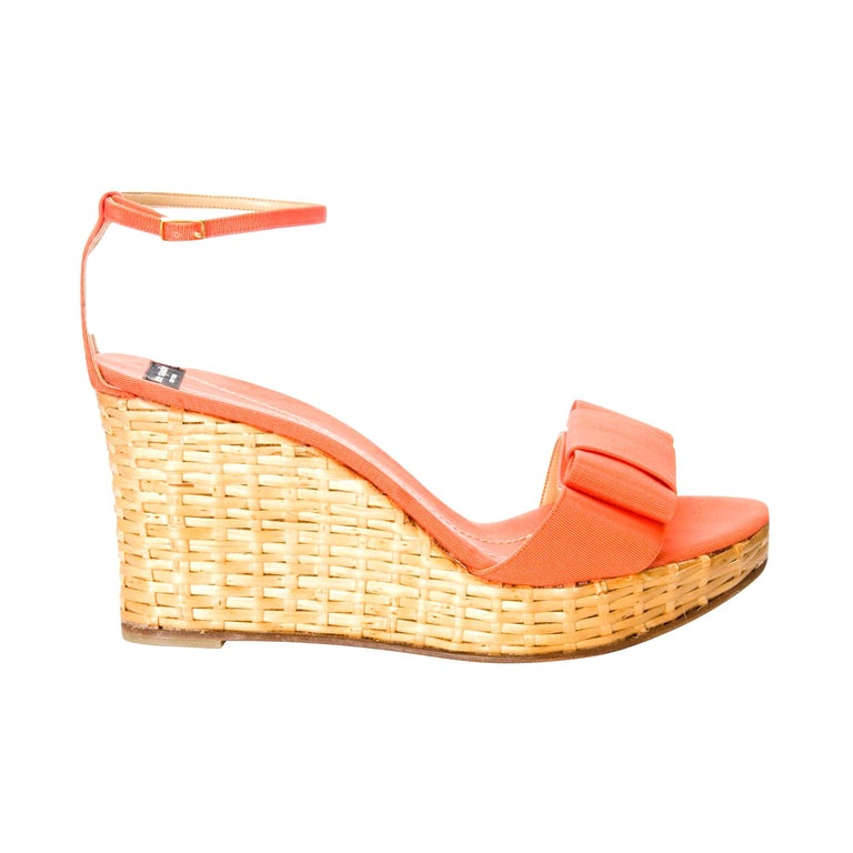 New Kate Spade Rare Collectible Spring 2005 Wicker Wedge Heels Sz 10 For Sale