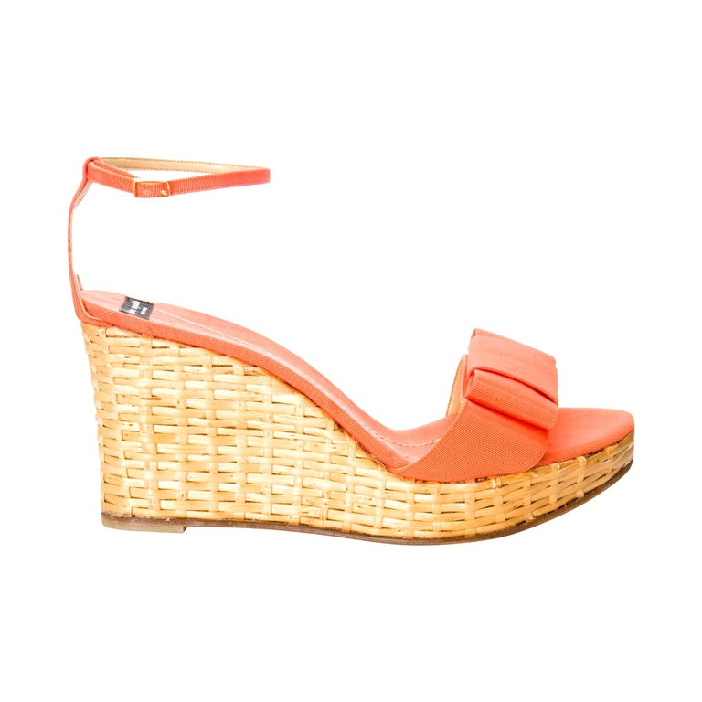 New Kate Spade Rare Collectible Spring 2005 Wicker Wedge Heels Sz 9 For Sale