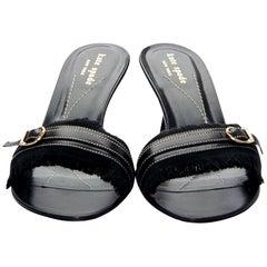 New Kate Spade Spring 2005 Black Heels Mules Sz 8