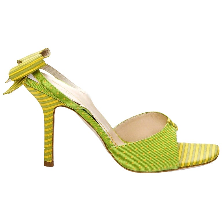 New Kate Spade Spring 2005 Collectible Green & Yellow Bow Heels Sz 6.5 For Sale