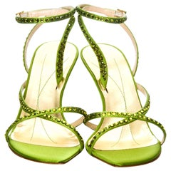 New Kate Spade Spring 2005 Collection Lime Green Swarovski Heels Sz 10