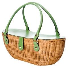 New Kate Spade Collectible Spring 2005 Green Wicker Basket Bag