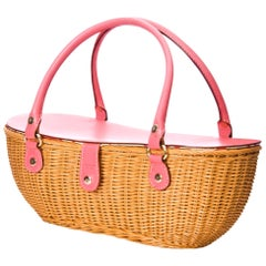 New Kate Spade Collectible Spring 2005 Pink Wicker Basket Bag