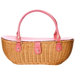 New Kate Spade Spring 2005 Large Pink Wicker Basket Bag