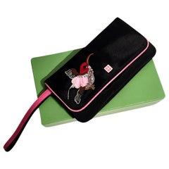 New Kate Spade Spring 2005 Snakeskin Bird Clutch Wristlet Bag