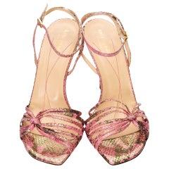 New Kate Spade Spring 2005 Snakeskin Fabric Heels Sz 10
