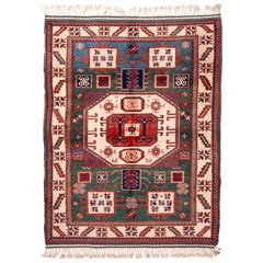 New Kazak Transitional Red and Green Wool Rug with Horn Motifs by Rug & Kilim
