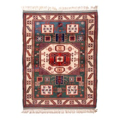 New Kazak Transitional Red and Green Wool Rug with Ram Horn Motifs