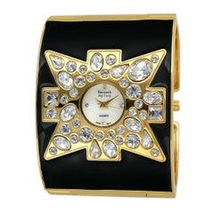 New Kenneth Jay Lane Swarovski Black Maltese Cross Enamel Cuff Watch With Box