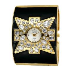 New Kenneth Jay Lane Swarovski Crystal Black Maltese Cuff Quartz Wristwatch