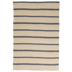 New Kilim Persian Rug in Ivory and Black Stripes