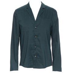 new LA PERLA dark green linen blend notched collar button front pyjama shirt XL