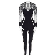 new LA PERLA Desire black neoprene floral lace long sleeve bodycon jumpsuit L