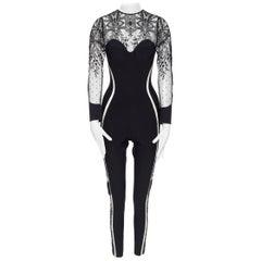 new LA PERLA Desire black neoprene floral lace long sleeve bodycon jumpsuit S