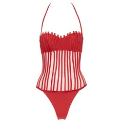new LA PERLA Graphique Couture red boned sheer body monokini swimsuit IT42B S