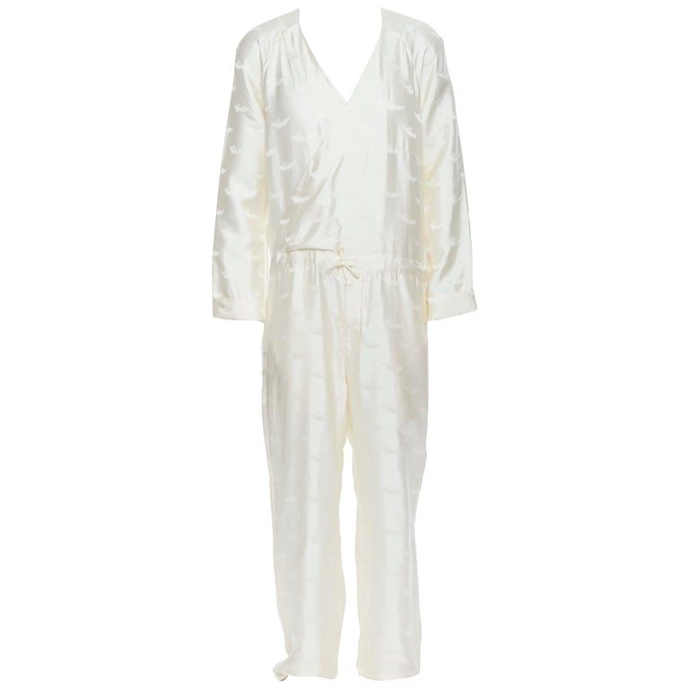 new LA PERLA MENSWEAR 100% silk cream beige winged jacquard V-neck jumpsuit M For Sale