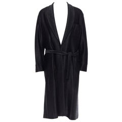 new LA PERLA MENSWEAR Runway black lacquered raffia weave belted robe coat L