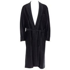 new LA PERLA MENSWEAR Runway black lacquered raffia weave belted robe coat M