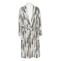 new LA PERLA MENSWEAR Runway black white wool silk jacquard belted robe coat L