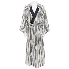 new LA PERLA MENSWEAR Runway black white wool silk jacquard kimono robe coat L