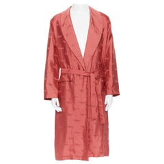 new LA PERLA MENSWEAR Runway red silk winged jacquard shawl collar belted robe