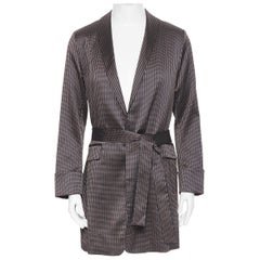 new LA PERLA MENSWEAR SS15 copper navy geometric jacquard evening robe S rare