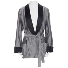 new LA PERLA MENSWEAR SS15 silver black geometric jacquard evening robe XL rare