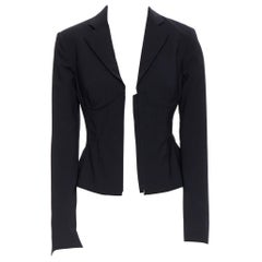 new LA PERLA SS17 Corset Jacket black bi-stretch wool zip bustier blazer IT38 B