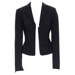 new LA PERLA SS17 Corset Jacket black bi-stretch wool zip bustier blazer IT40 B