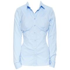 new LA PERLA SS17 Runway Corset bustier light blue stretch cotton shirt IT42 B