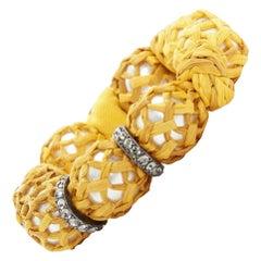new LANVIN ALBER ELBAZ faux pearl yellow raffia wrapped crystal hook bracelet