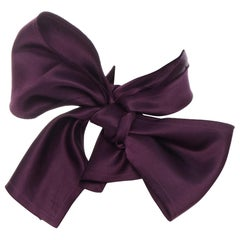 new LANVIN purple pure silk tonal stitching raw cut edge rectangular scarf bow