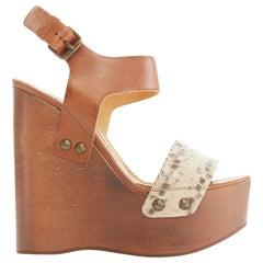 new LANVIN python strap brown leather wooden platform wedge heels EU37 US7 UK4