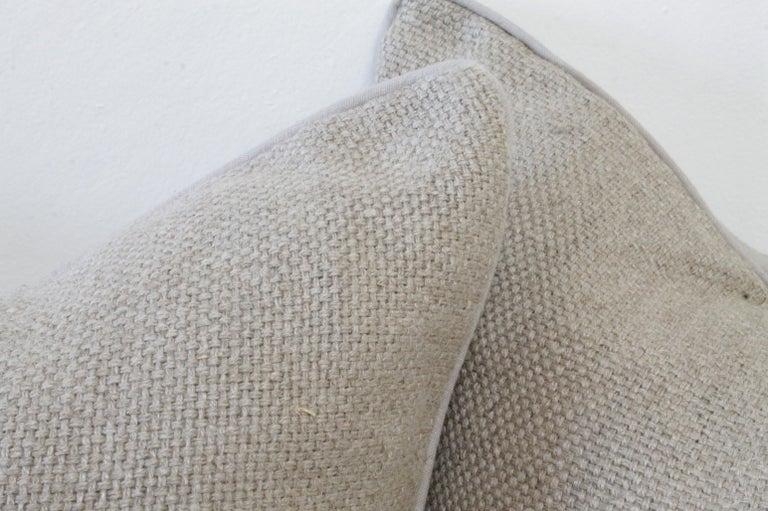 Beautiful large weave 100% Belgium linen pillow 22