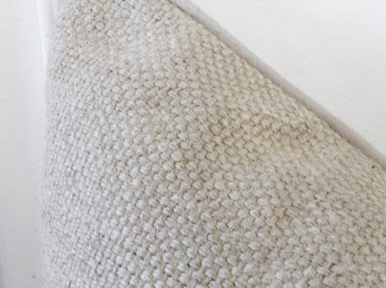 Rustic New Large Weave Textured Natural Belgian Linen Accent Pillow For Sale
