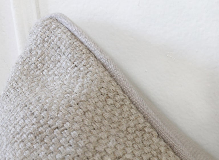 New Large Weave Textured Natural Belgian Linen Accent Pillow In New Condition For Sale In Brea, CA