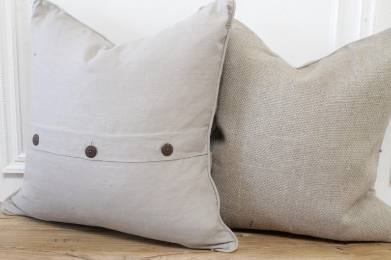 Contemporary New Large Weave Textured Natural Belgian Linen Accent Pillow For Sale