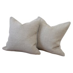 New Large Weave Textured Natural Belgian Linen Accent Pillow