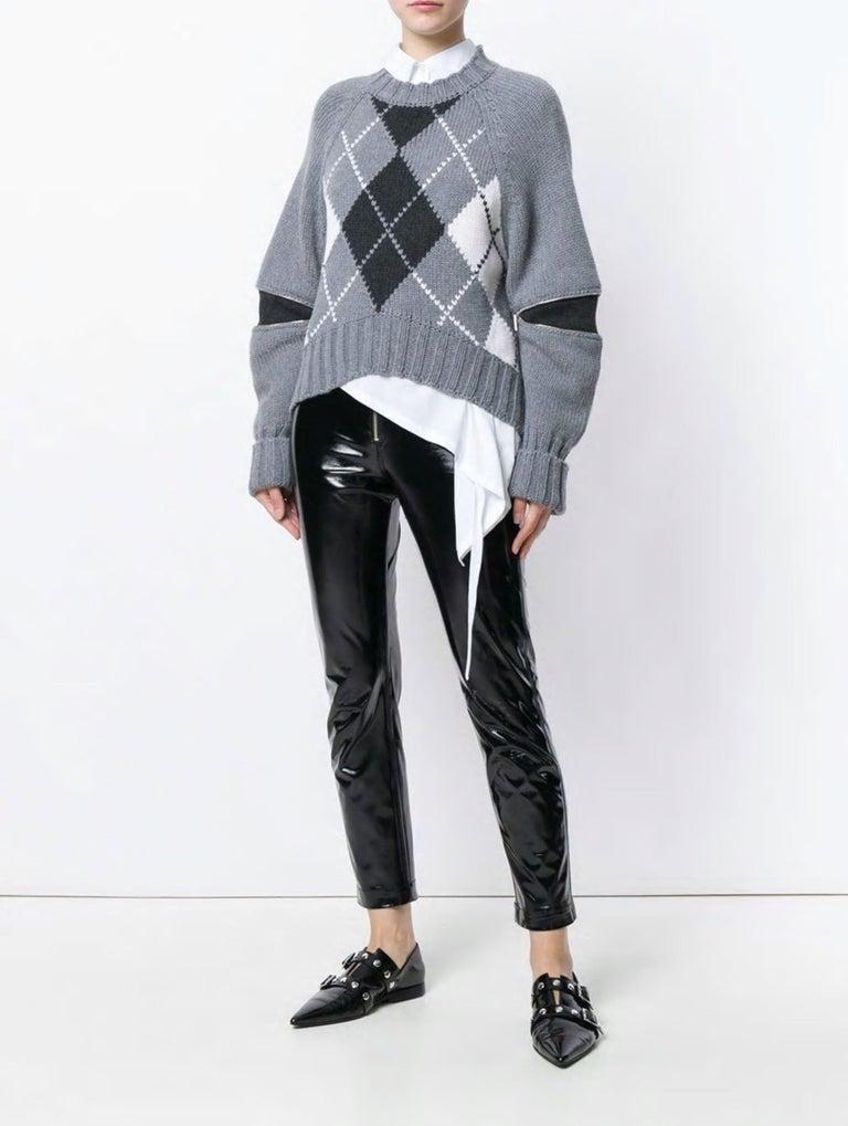 Gray New Laura Dern Big Little Lies Alexander McQueen Argyle Sweater Sz L $1295