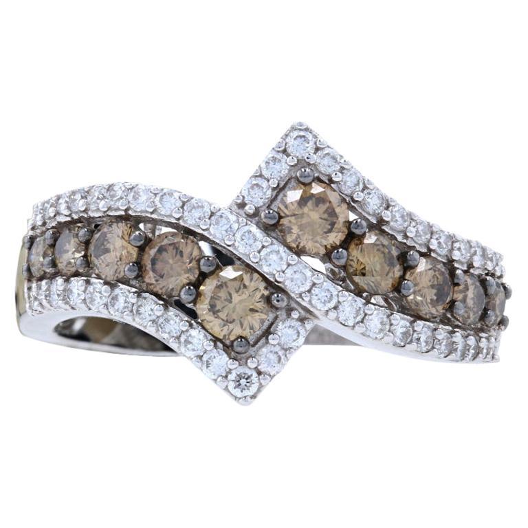 New Le Vian Diamond Ring, 14k White Gold Bypass 1.04ctw